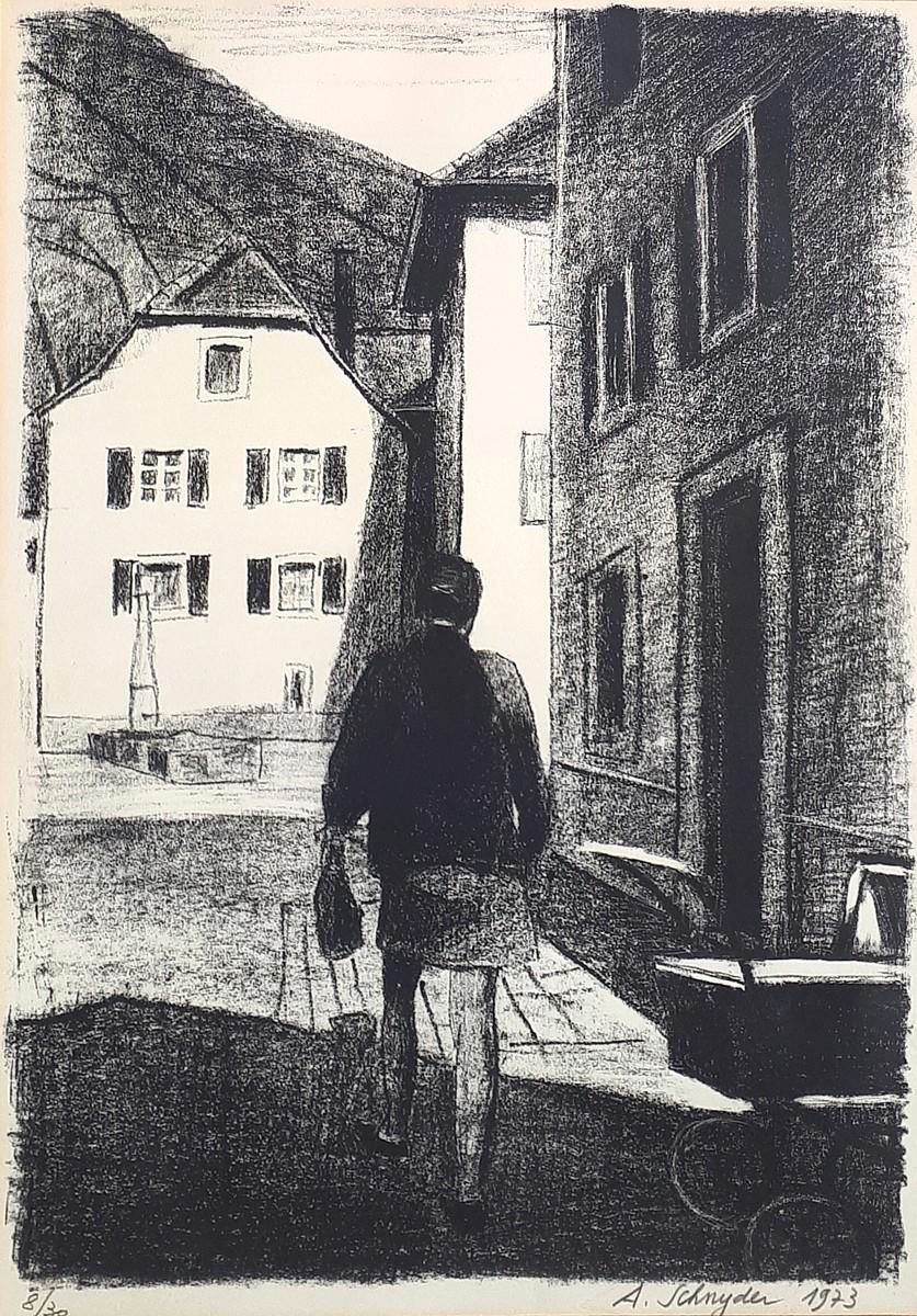 saint ursanne par le peintre albert schnyder vente d 39 une lithographie rare. Black Bedroom Furniture Sets. Home Design Ideas