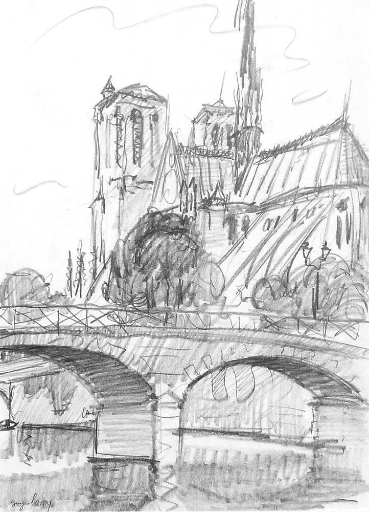 Notre Dame Par Guy Lamy Peintre Français