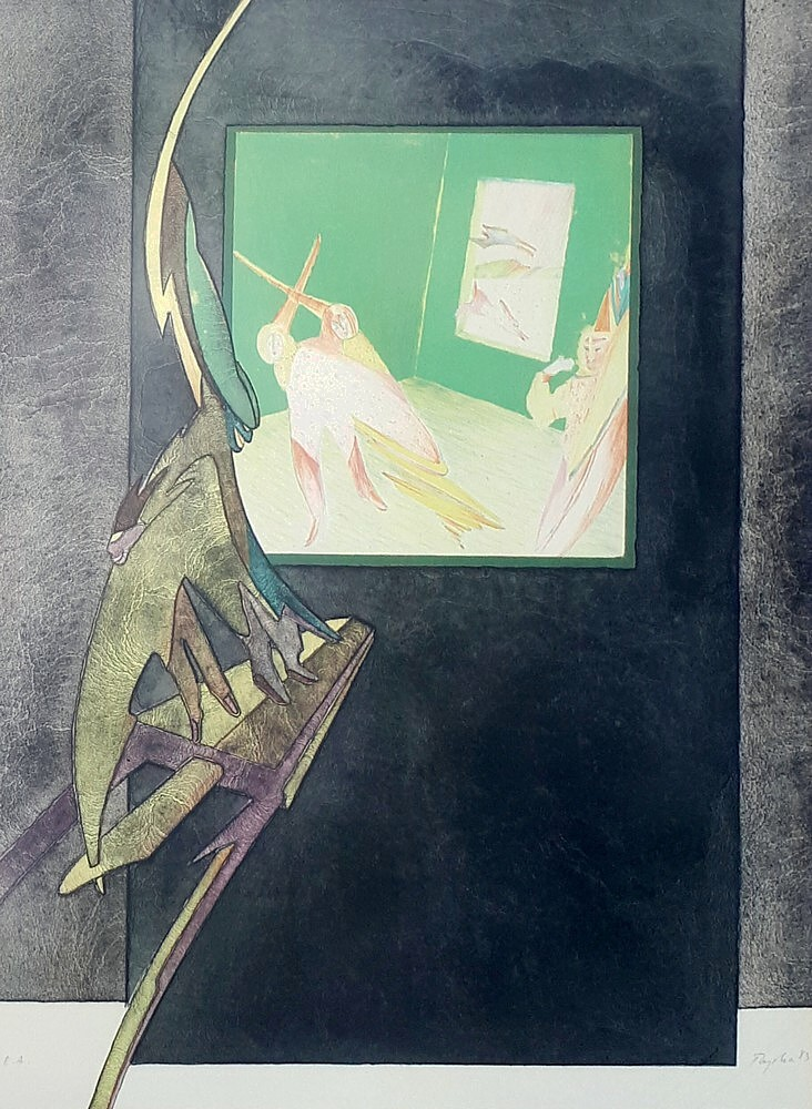 ren myhra vente d 39 une lithographie datant de 1983. Black Bedroom Furniture Sets. Home Design Ideas